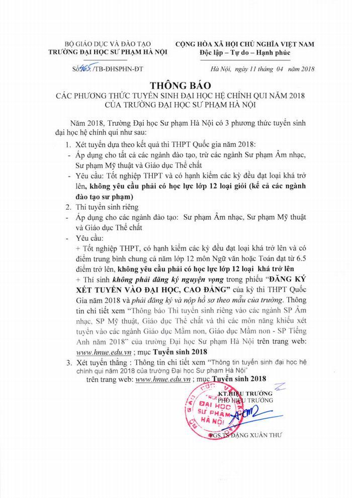 Các phương thức tuyển sinh hệ Đại học chính quy năm 2018 của Trường Đại học sư phạm Hà Nội